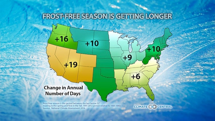 Regional changes in the length of the frost-free season