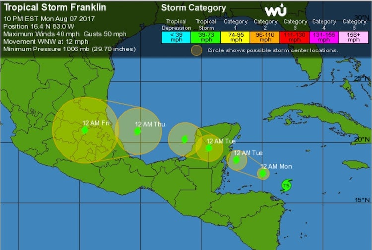 WU 5-day tracking map for TS Franklin, 3Z 8/7/2017
