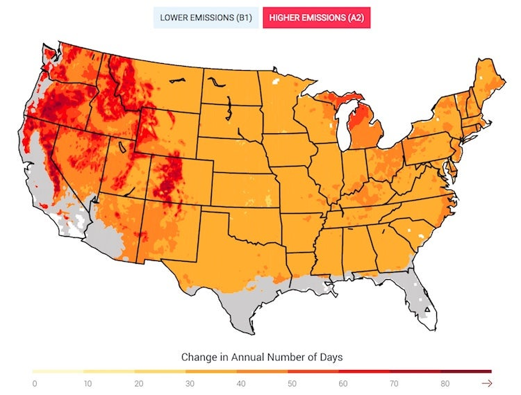 Projected U.S. change in frost-free season by end of 21st century