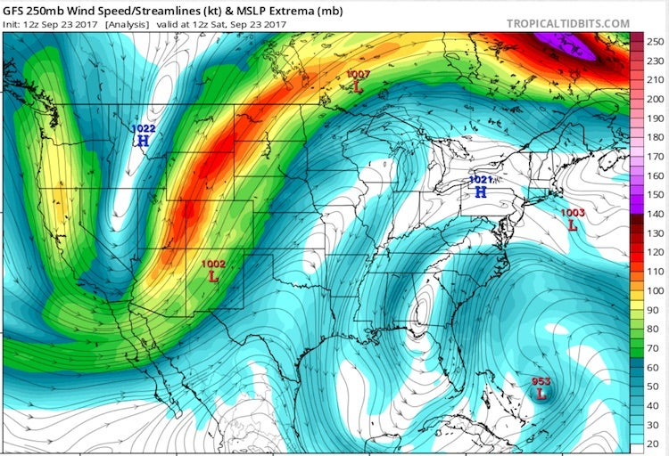 250-mb flow analyzed by GFS, 12Z 9/23/2017
