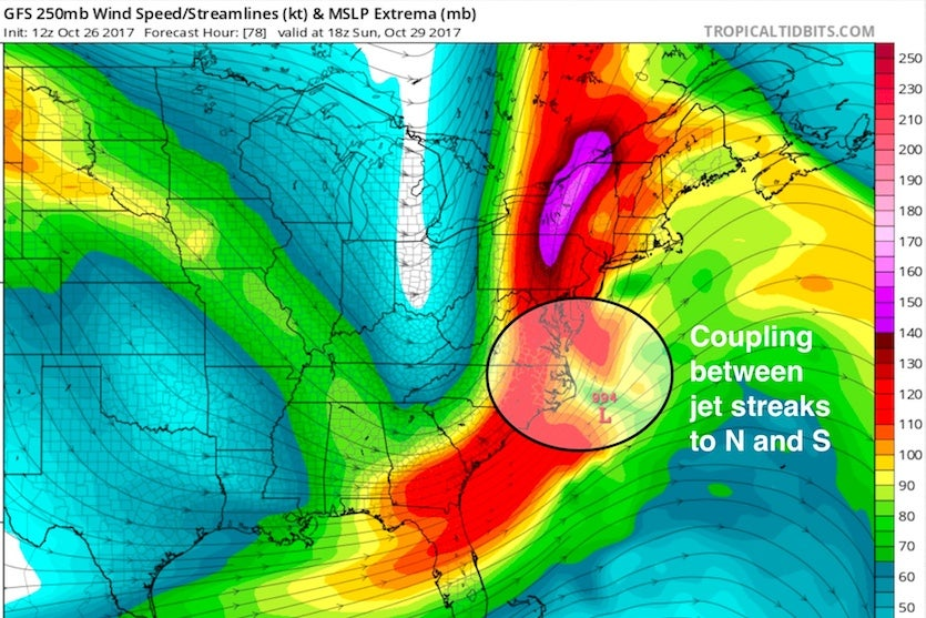 Winds at 250 mb (about 34,000 feet high) will be howling at speeds from 100 to 150 knots (115 – 170 mph) at 2 pm EDT Sunday, October 29, 2017, based on output from the 12Z Thursday run of the GFS model