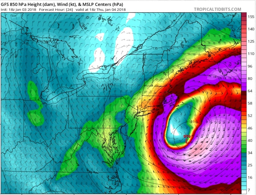 24-hr forecast of 850-mb winds with Grayson from GFS run at 18Z 1/3/2018