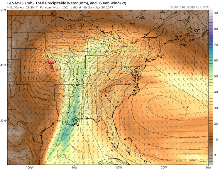 Precipitable water forecast by 06Z Fri. GFS model for 18Z Sun 4/30/17