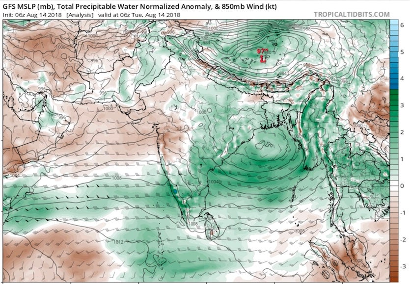 Analysis of precipitable water over India, 8/14/2018