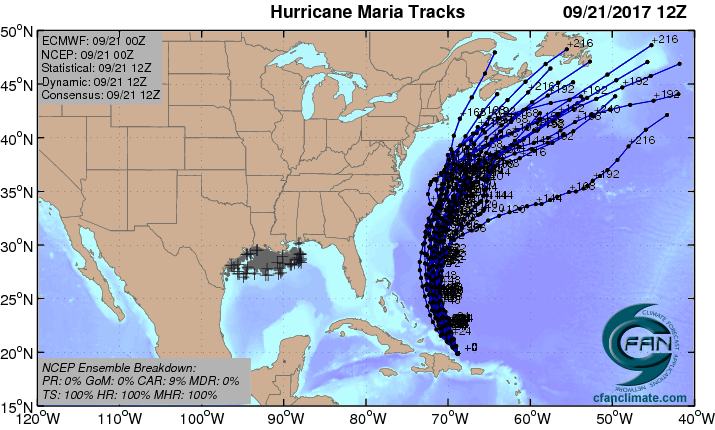 GFS ensembles for Maria, 0Z 9/21/2017
