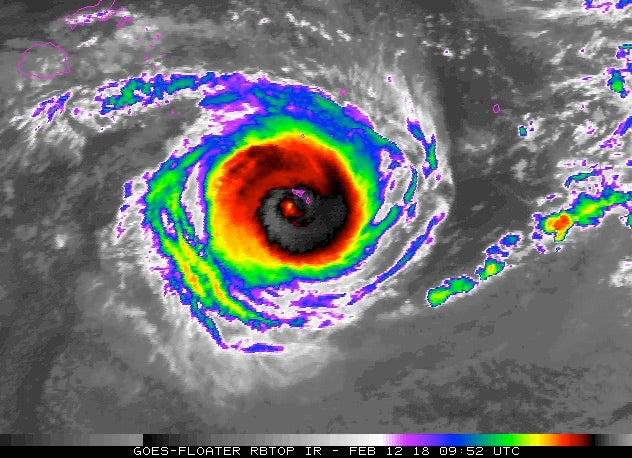 Enhanced infrared satellite image of Cyclone Gita, 2/12/2018