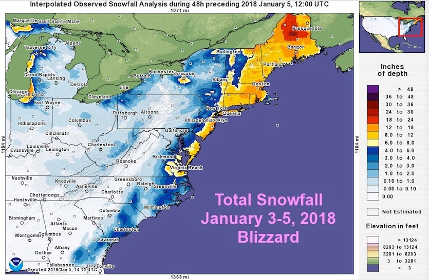 Figure 1. Total snowfall from this week's East Coast winter storm. Image credit: NOAA/NWS Eastern Region.