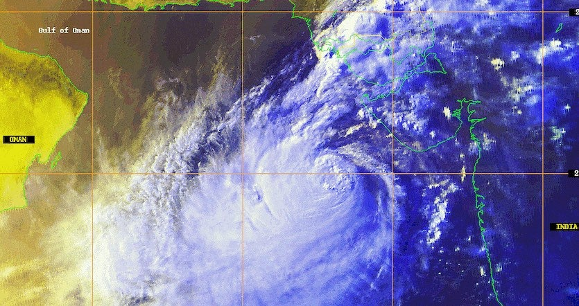 Satellite image of the 1998 Gujarat cyclone at 1210Z on June 8, 1998