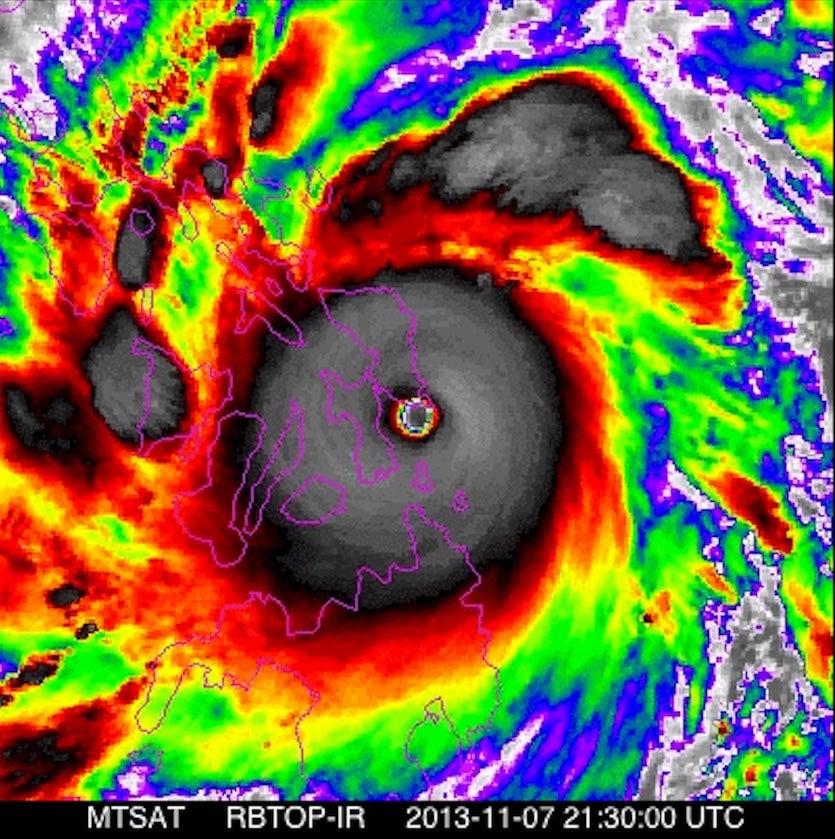 Enhanced IR image of Haiyan, 2130Z 11/7/2013