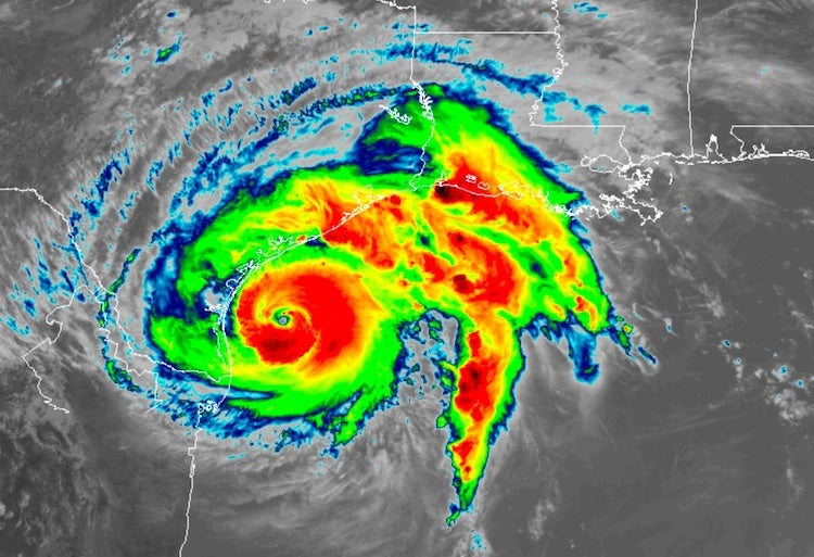 Infrared satellite image of Hurricane Harvey, 1652Z 8/25/2017