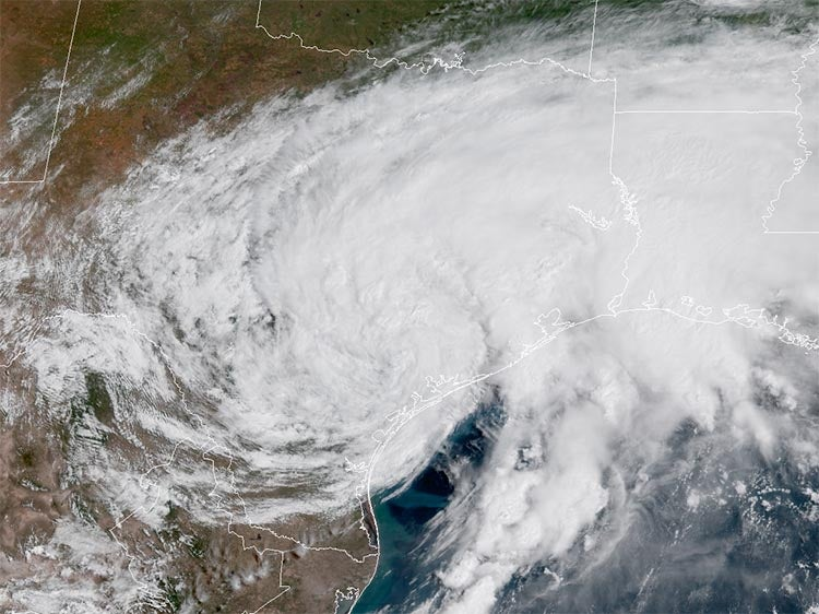 Satellite image of TS Harvey, 8/27/2017
