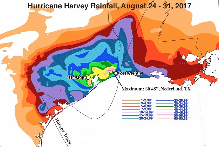 Storm-total rainfall from Hurricane Harvey, August 24 – 31, 2017