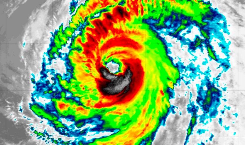 Infrared satellite image of Hurricane Helene as of 2220Z (6:20 pm EDT) Monday, September 10, 2018