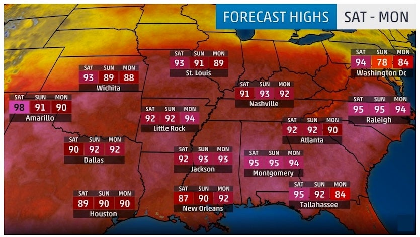 Highs predicted 5/10/2018 for 5/11-13/2018