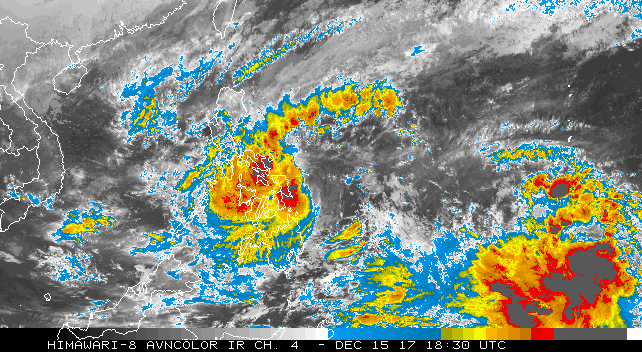 Infrared image of Tropical Storm Kai-Tak (center) at 1:30 pm EST Friday, December 15, 2017