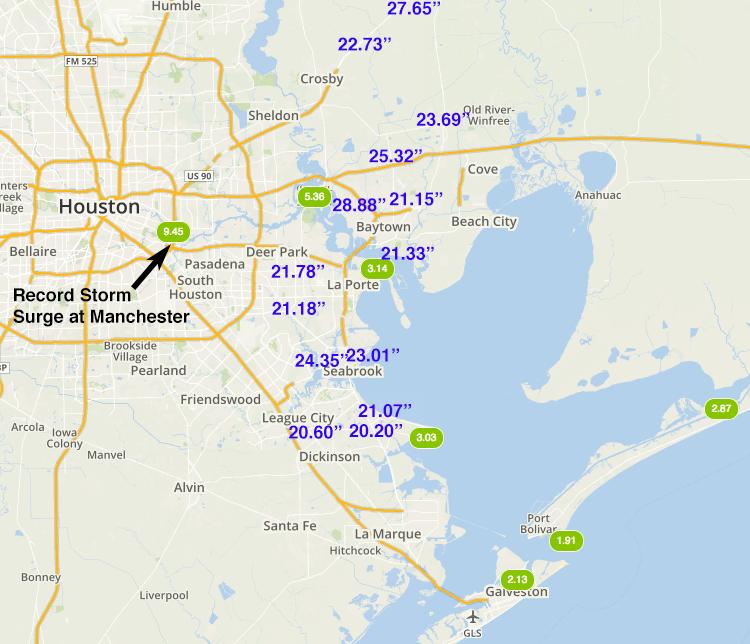 Storm surge & rainfall amounts in Houston area, 8/27/2017