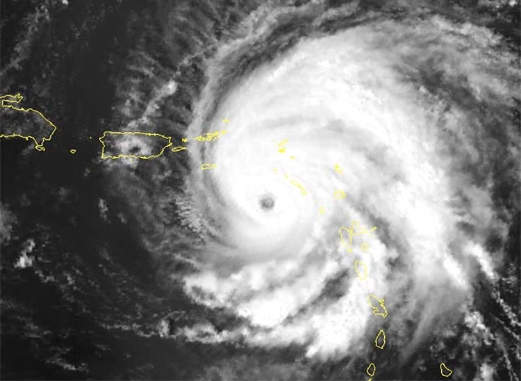 Satellite image of Hurricane Hugo bearing down on St. Croix, 1989