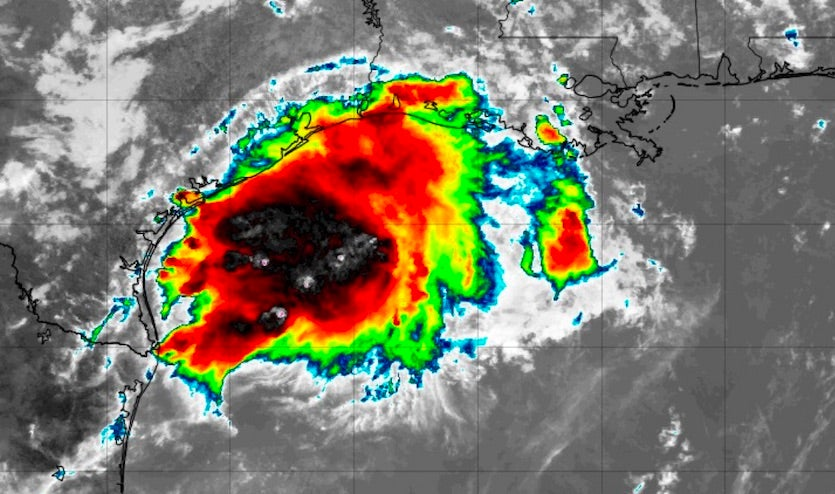 Infrared image of Invest 90L at 1725Z 8/24/19