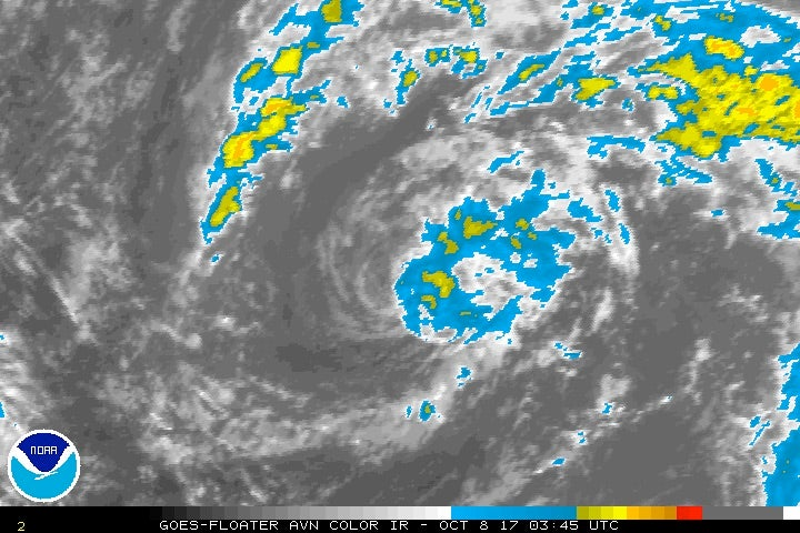 Infrared satellite image of Invest 91L at 11:45 pm EDT Saturday, October 7, 2017.