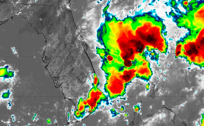 Infrared image of Invest 98L at 1732Z 8/24/19