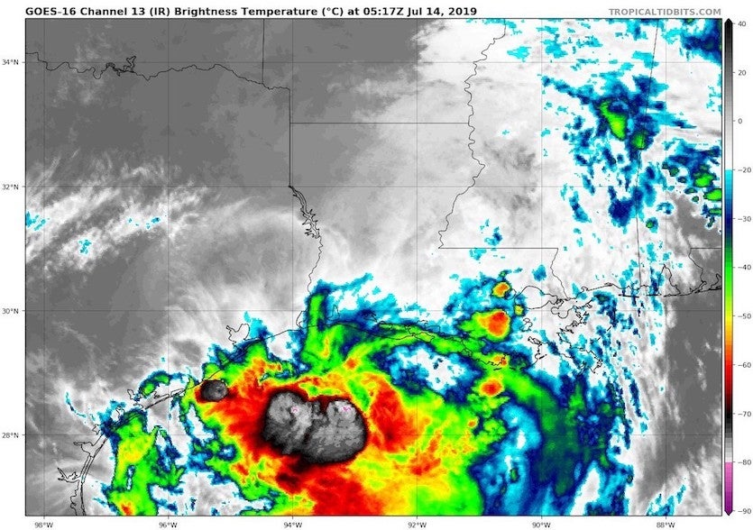 Infrared satellite image from Barry at 0517Z (1:17 am EDT) Sunday, July 14, 2019