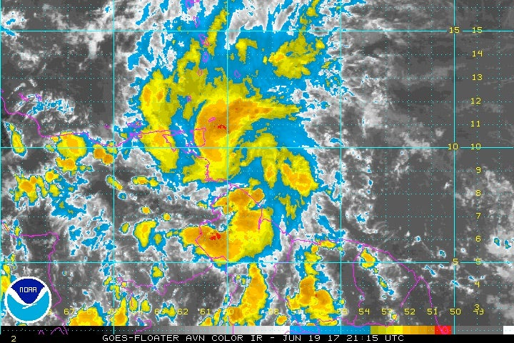 Infrared satellite image of Tropical Storm Bret, Monday PM 6/19/2017