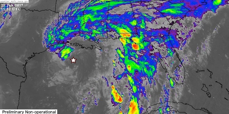 Enhanced infrared satellite image of Tropical Storm Cindy, 1152Z 6/21/2017
