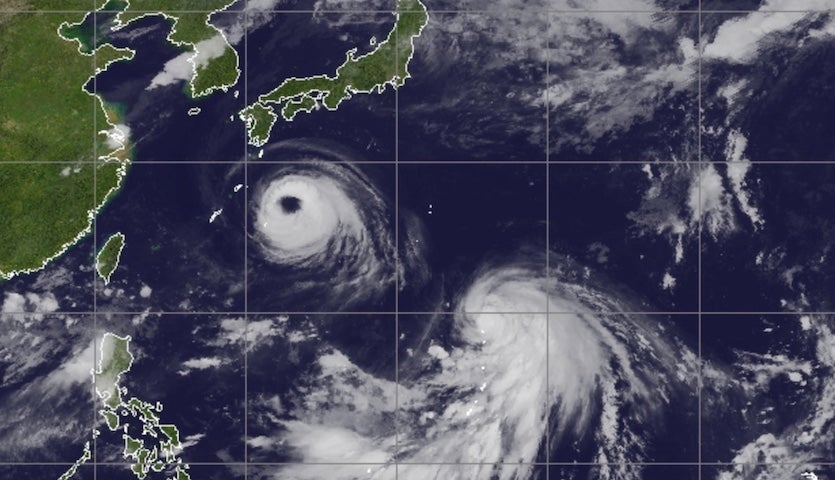 Infrared Himiwari-8 satellite image of typhoons Soulik (upper left) and Cimaron (lower right) at 1930Z (3:30 pm EDT) Monday, August 20, 2018
