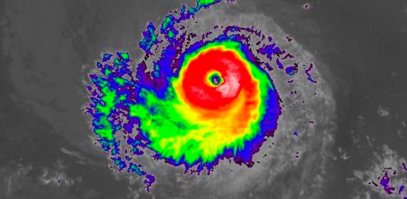 Infrared satellite image of Hurricane Kiko at 2045Z 9/15/19