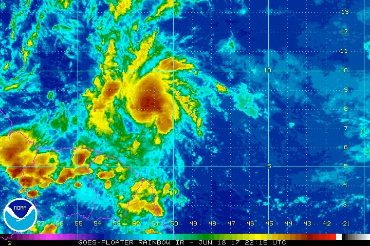 Enhanced infrared satellite image of Potential Tropical Cyclone 2 at 2215Z 6/18/2017