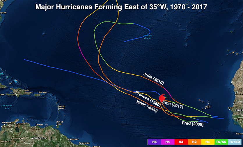Major hurricanes that developed east of 35°E, 1970-2017