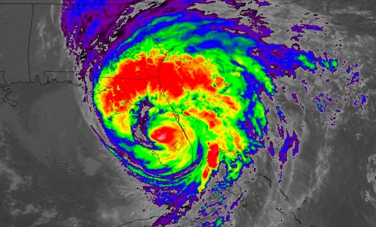 Infrared GOES-16 satellite image of Hurricane Irma as of 10:52 pm EDT Sunday, September 10, 2017.