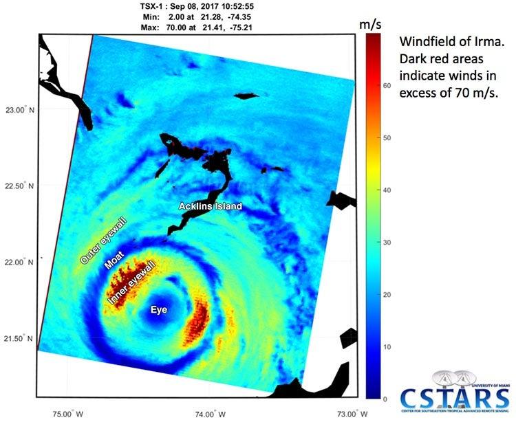 Synthetic Aperture Radar (SAR) image of Irma taken at 6:53 am EDT September 8, 2017