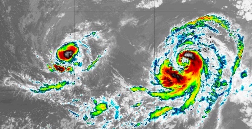 Infrared image of Tropical Storm Isaac (left) and Hurricane Helene (right) at 2305Z (7:05 pm EDT) Sunday, September 9, 2018