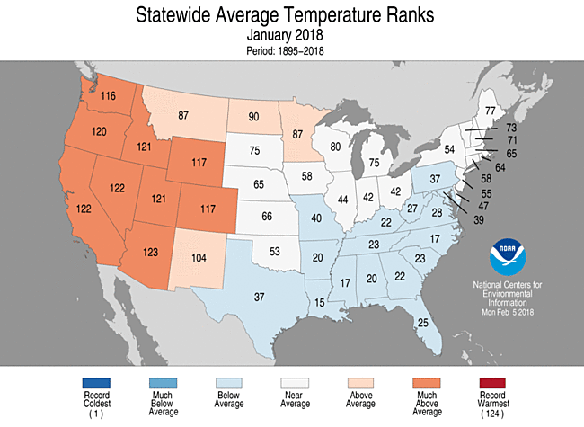 Statewide rankings for average temperature during January 2018, as compared to each May since 1895