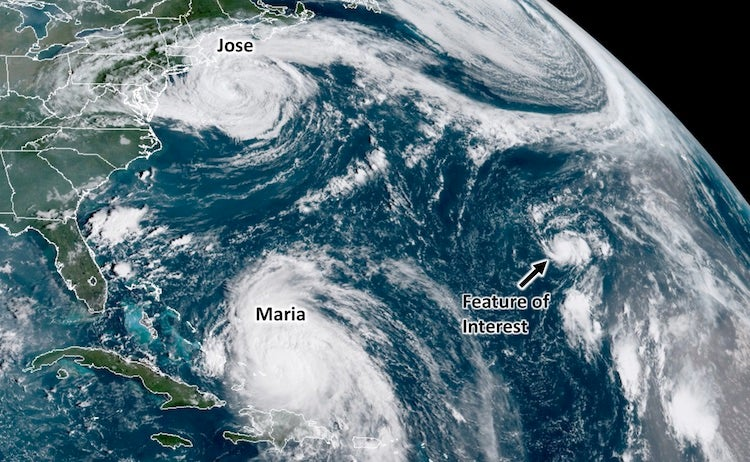 Jose, Maria, and potential TC in North Atlantic, 9/21/2017