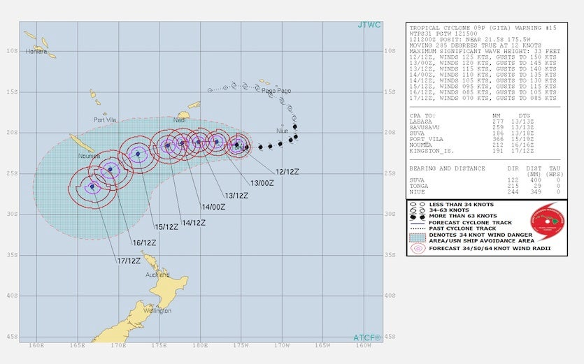Forecast for Cyclone Gita, issued by JTWC at 15Z 2/12/2018