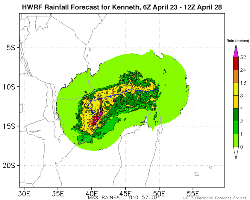 Kenneth rainfall forecast