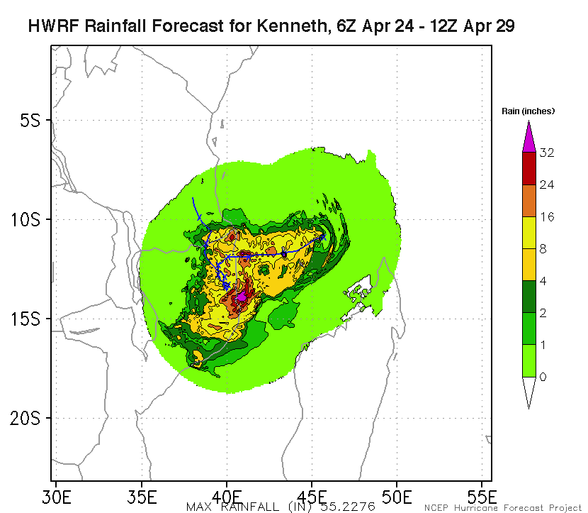 Predicted precipitation from Cyclone Kenneth for the period 6Z April 24 - 12Z April 29, 2019, from the 6Z Wednesday run of the HWRF model.