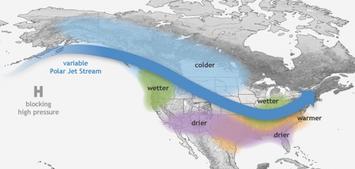 Schematic showing typical La NIña impacts in North America