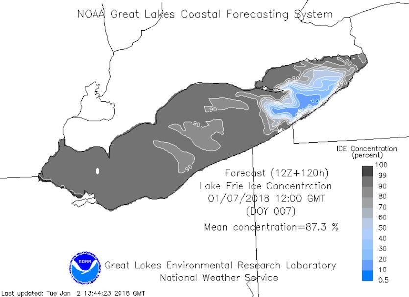 Most of Lake Erie was ice-covered as of January 2, although a small area adjoining western New York had yet to freeze up.