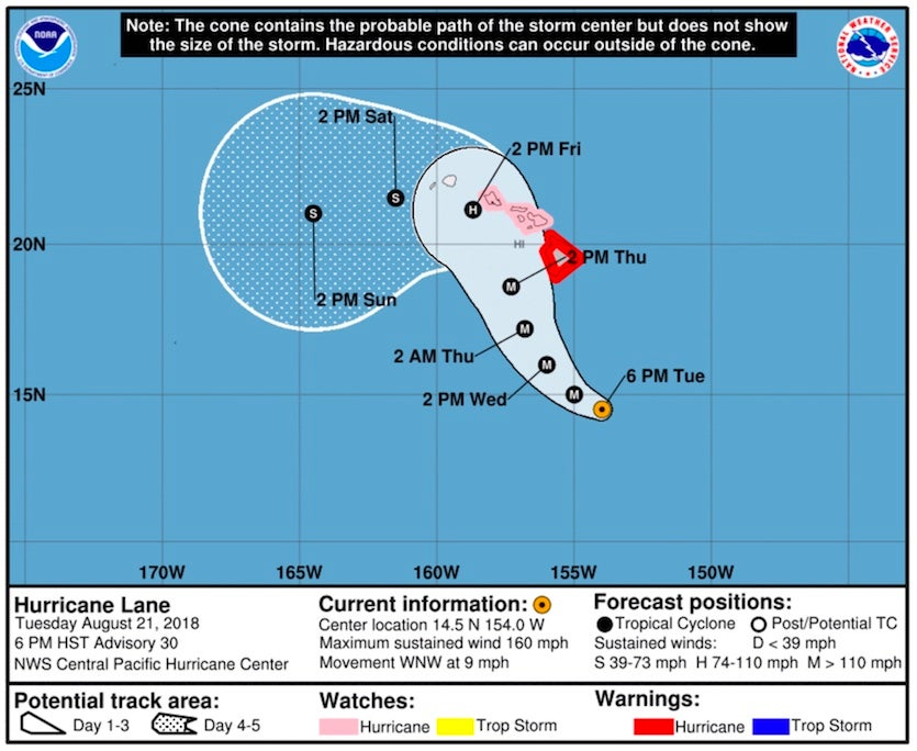 """Forecast track and """"cone of uncertainty"""" for Lane as of 6 PM HST Tuesday, August 20, 2018"""