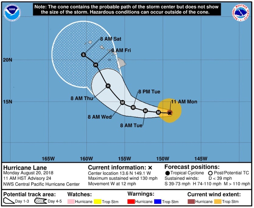 """Forecast """"cone of uncertainty"""" for Lane as of 5 pm EDT (11 am HST) Monday, August 20, 2018"""