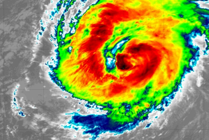 Infrared image of Hurricane Leslie at 1635Z (12:35 am EDT) Thursday, October 11, 2018