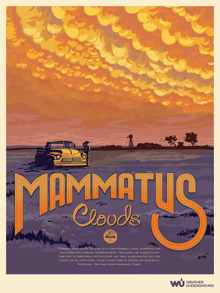 image relating to Weather Underground Printable known as Mammatus Clouds Climate Underground