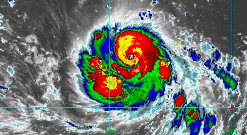Enhanced infrared satellite image of Typhoon Mangkhut as of 2130Z (5:30 pm EDT) Monday, September 10, 2018