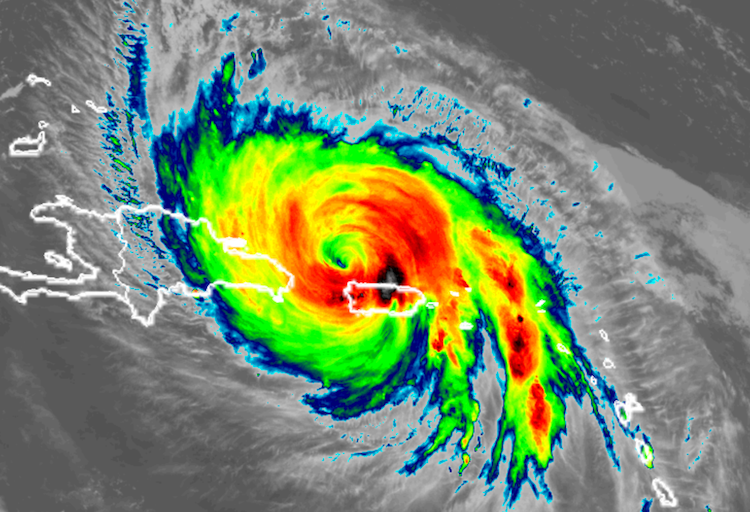 Infrared GOES-16 image of Hurricane Maria at 5:15 pm EDT Wednesday, September 20, 2017