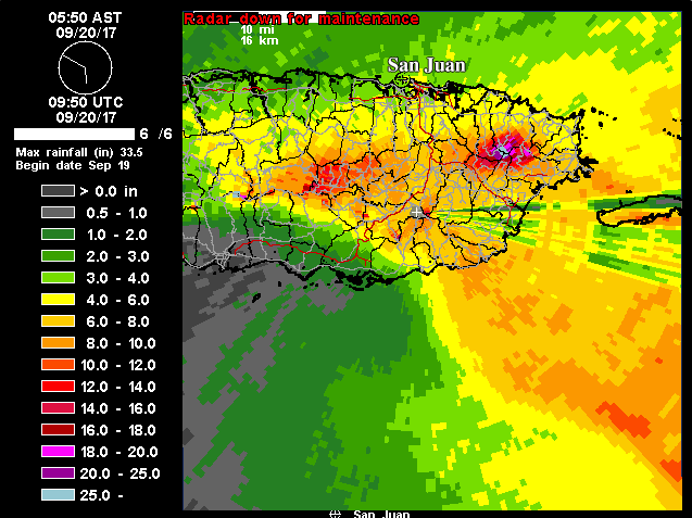 Radar-based rainfall estimates for Puerto Rico, 9/20/2017
