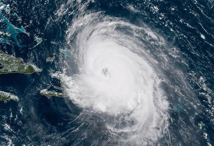 Hurricane Maria as seen by the GOES-16 satellite at 10:45 am EDT September 21, 2017.