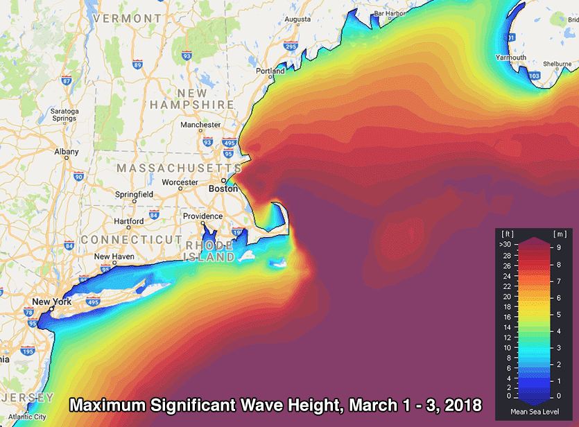 figure 2 predicted maximum significant wave height for the 3 day period ending on march 3 2018 from the swan wave model driven by winds from the nam